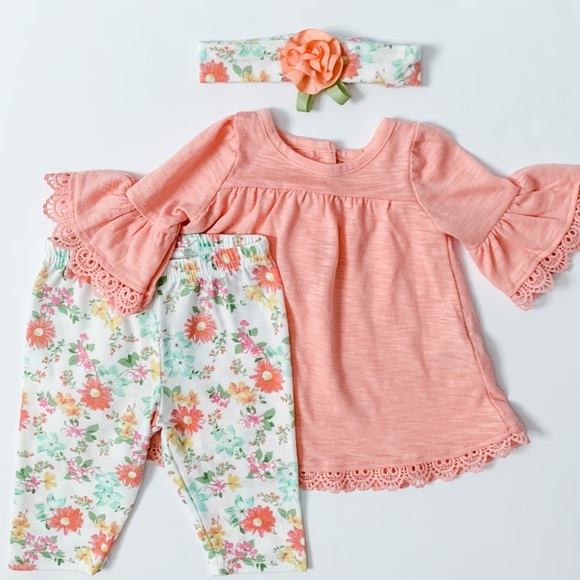 Baby girl outfit with matching headband